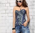 Hot Selling Women Fashionable Overbust Corset Sexy Denim Corset Lady Blue Jean Corset Free Drop Shipping + Lowest Price