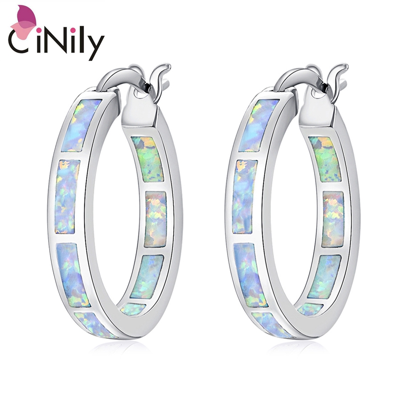 CiNily Created White Fire Opal Silver Plated Earrings Wholesale Hot Sell Fashion for Women Jewelry Earrings 7/8 OH2665 ...