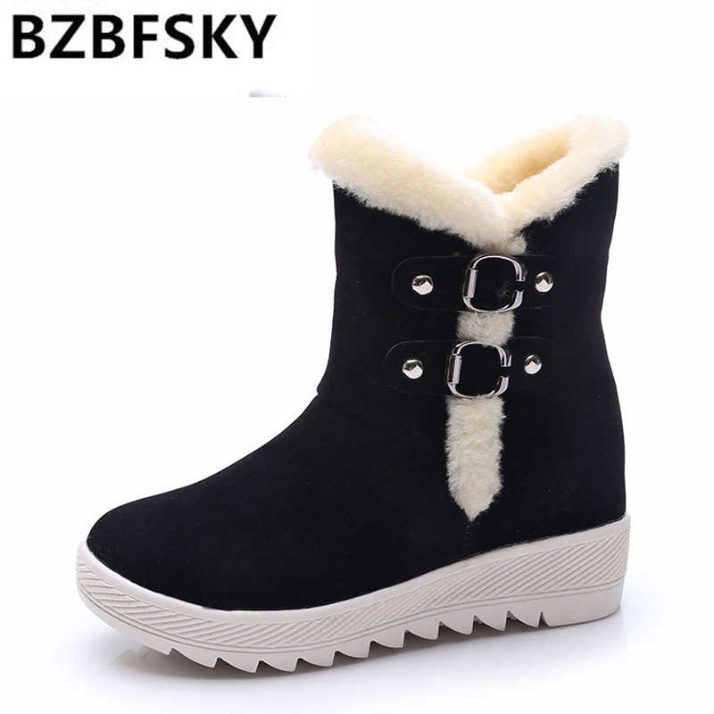 Warm Women Snow Boots 2017 Platform Ankle Boots Winter Flock Shoes Woman Slip On Creepers Women Flats Shoes ms noki fur women winter metal star platform female slip on ankle boots warm snow boots ladies flock shoes woman botas size hot