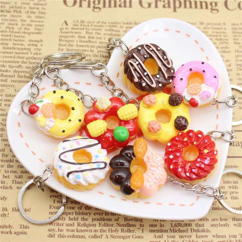 1 Pcs Cute Resin Doughnut Cake Keychain Simulation Food For Women Girls Gifts Car Bags Keyring Hot Sell