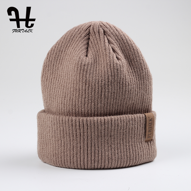 цены FURTALK Spring Autumn Woman Wool Knit Beanie Hat Cuff Beanie Watch Cap Spring Skull hats for women