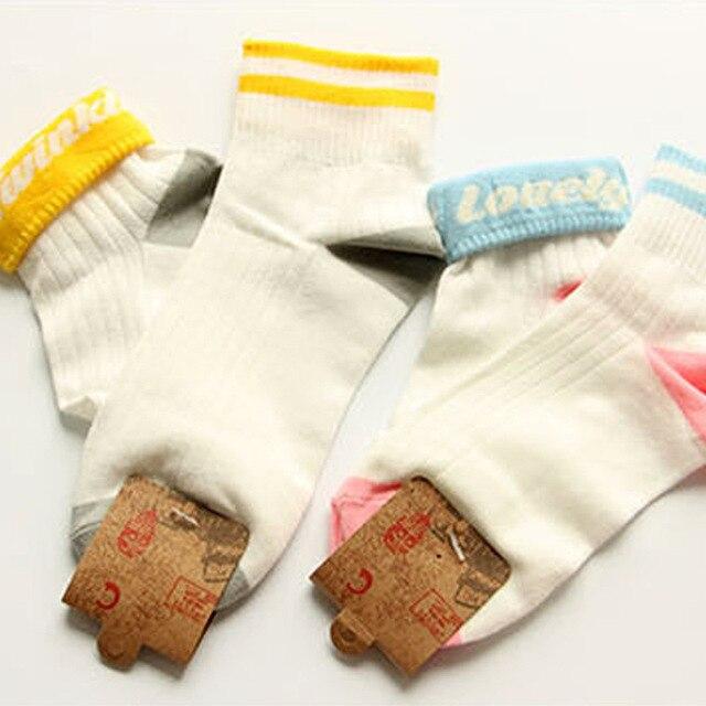 Nouveau corée coton femmes deux rayures chaussettes motif lettre blanc femme chaussettes pour étudiants adolescent Flanging doux chaussettes printemps