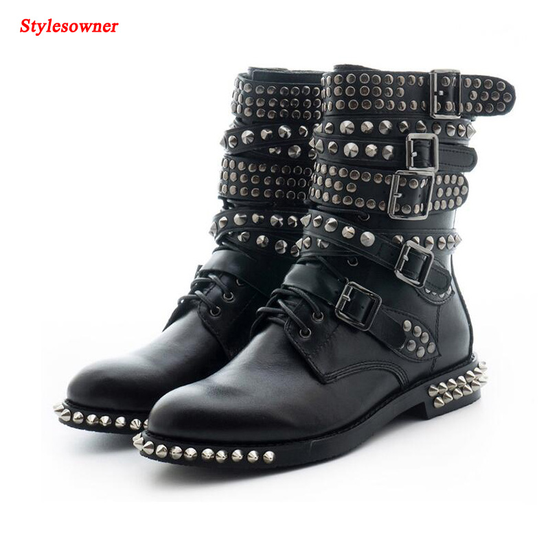 Stylesowner Winter Womens Short Boots Lace Up Round Toe Rivet Stud Low Heels Buckle Straps Motocycle Riding Ankle Boots Shoes