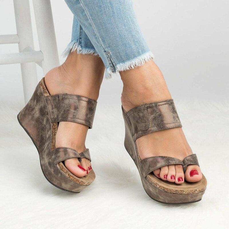 a008150ab0dd Europe Summer Women Slippers Wedges Flip Flops Slippers High-heel Platform Shoes  Woman Fashion Plus
