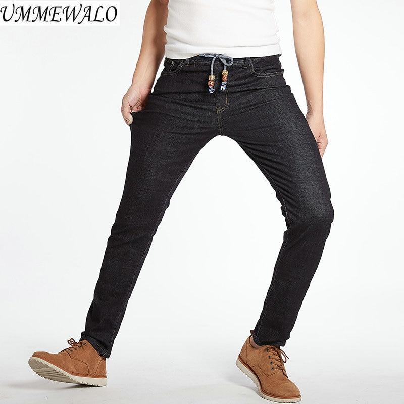 d1c8f2821b3 UMMEWALO Big And Tall Jeans Men Slim Fit Stretch Black Jeans Male Brand  Elastic Waist Denim Jeans Homme Plus Size 28-42 44 46 48