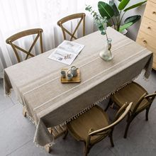 Japan style Christmas Tablecloth Gray Embroidery Striped Cotton Linen Rectangle Table cloth Lace Hem Decor Dining Cover