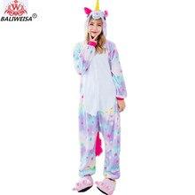 BALIWEISA Garment Cartoon Animal Pajamas Women Pajamas Sleepwear Rainbow Unicorn Tenma Adults Pajama Set Flannel Pyjamas