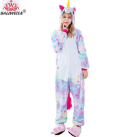 BALIWEISA Garment Cartoon Animal Pajamas Women Pajamas Sleepwear Rainbow Unicorn Tenma Adults Pajama Set Flannel Pyjamas