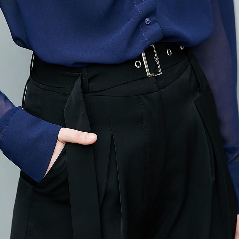 e7959478d751 Amii Lady Lâche Haute Chic Elagant Ceinture Large Taille Pantalon Noir  Femelle kaki Jambe Femmes Minimaliste 2018 ...