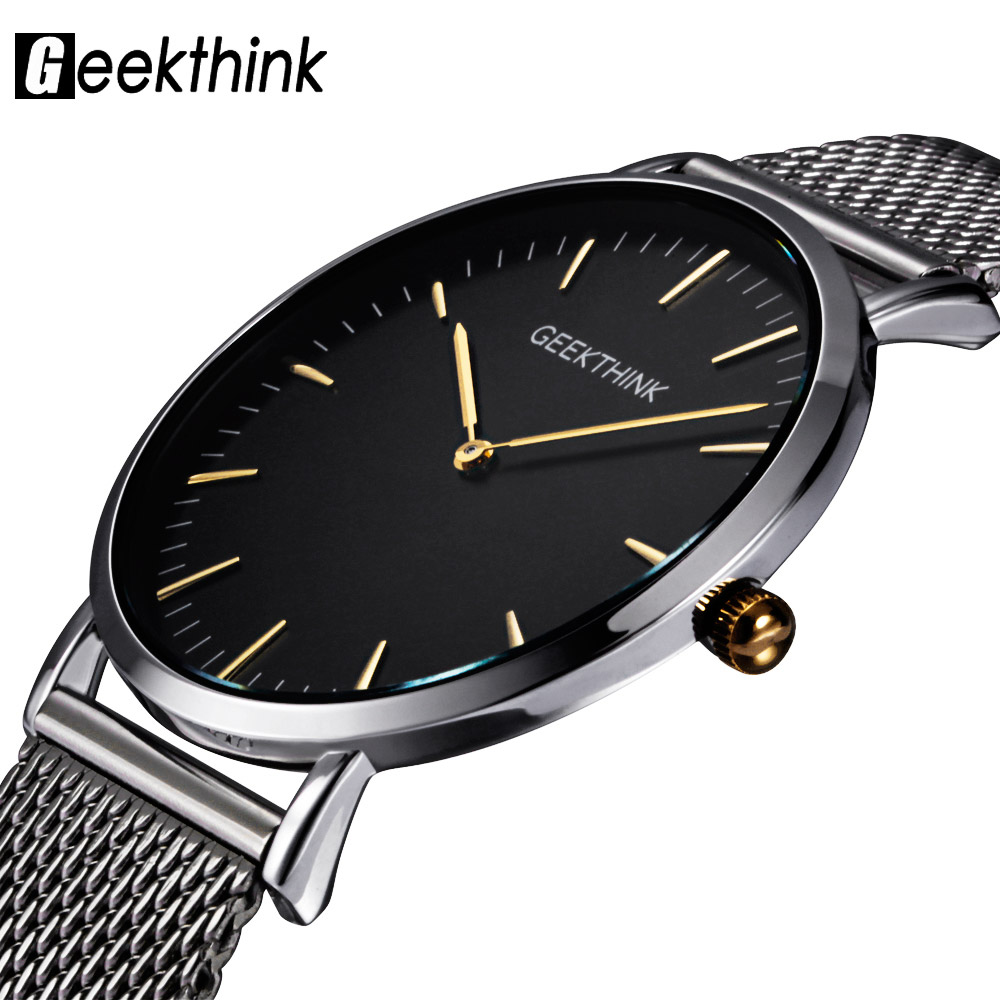 GEEKTHINK Top Luxury Brand Quartz Watch Men Casual Japan Quartz Watch Rostfritt Mesh Rem Ultra Tunt Klocka Man New