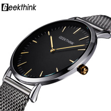 GEEKTHINK Top Luxury Brand Quartz watch men Casual Japan quartz-watch stainless steel Mesh strap ultra thin clock male New купить недорого в Москве