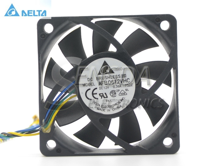 Original Delta AFB0612VHC 6CM 60MM 6013 6*6*1.3CM 60*60*13MM   12V 0.36A dual ball bearing cooling fan Specials original delta afb0912shf 9032 9cm 12v 0 90a dual ball bearing cooling fan