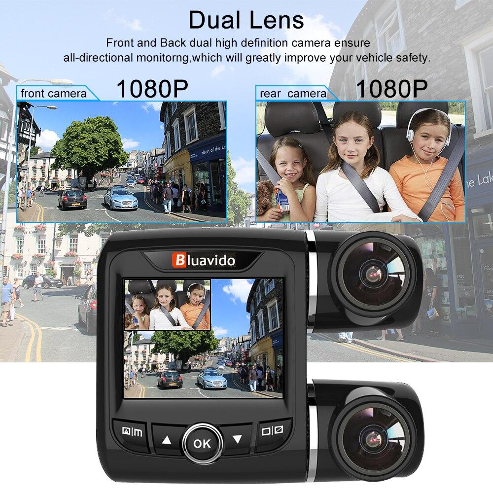 Bluavido Dual Objektiv FHD 1080P Auto DVR Kamera mit 1080P Hinten cam WDR Nachtsicht Novatek 96663 Auto video Recorder Für Uber Taxi - 5