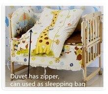 Promotion! 6PCS Cute Animal Crib Bedding Set Soft Baby Sheet ,Comfortable Baby Bedding Set (3bumpers+matress+pillow+duvet)