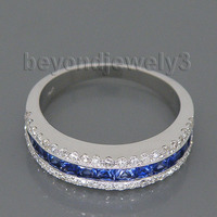 Solod 14Kt White Gold 1 80Ct Sapphire Diamond Wedding Band Engagement Wedding Ring