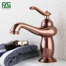 FLG Basin Faucet Mixer Rose Gold Plated style Brass Water Tap Art Short Bathroom Toilet Sink 592-11R