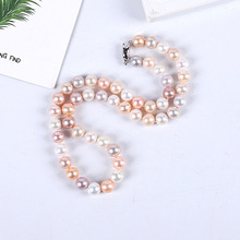 цена на Natural Freshwater Pearl 9-10mm Necklace Near Positive Circle and Micro-leisure Color Bead Necklace Jewelry