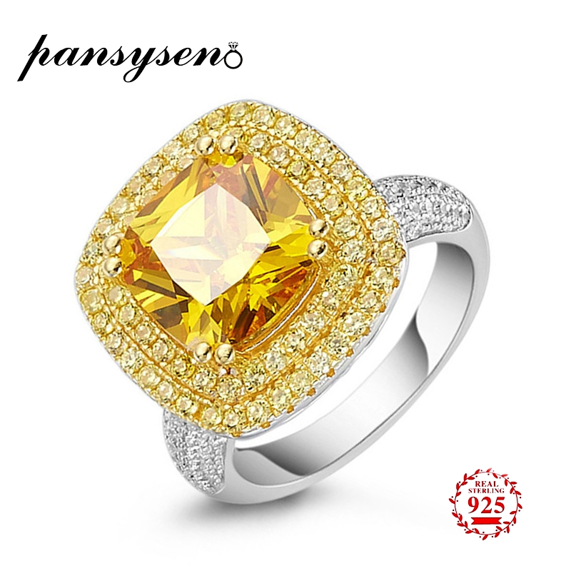 PANSYSEN Luxury Charms 10MM Natural Citrine Rings For Women 100% 925 Sterling Silver Diamond Birthstone Finger Ring Female Gifts
