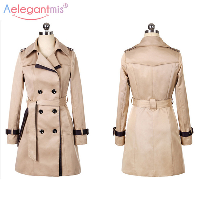 Autumn Women Double Breasted Long Trench 4