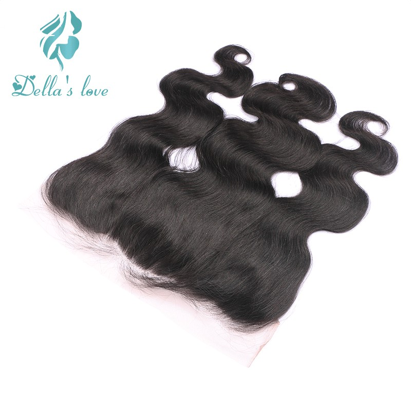 Brazilian Body Wave Human Hair Frontal With Baby Hair Remy Hair Lace Frontal Free Part Natural Color Dellas Love Hair Extensions