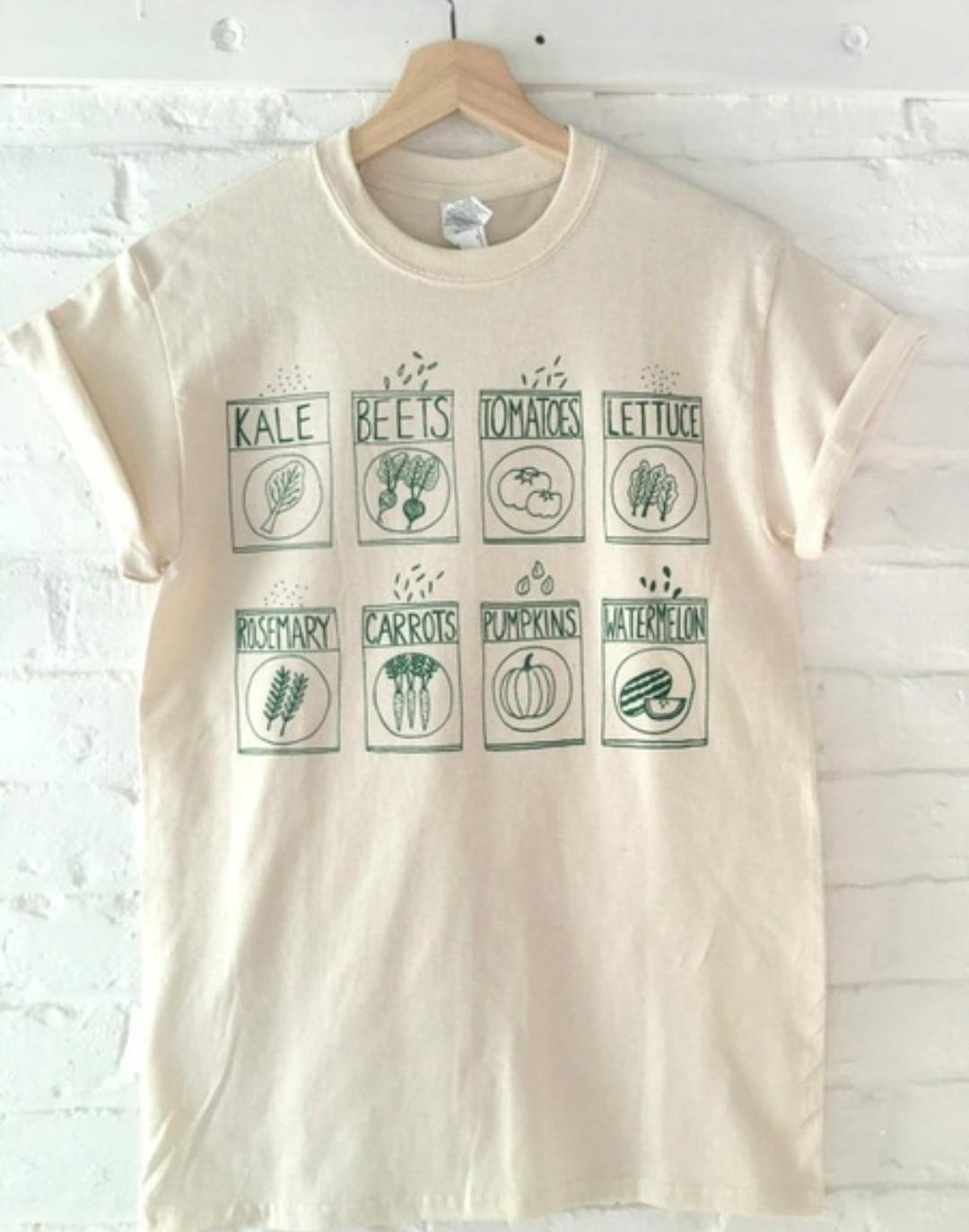 Unisex Cute Graphic Tees Garden Vegetables Fruits Herb Printed Vintage Aesthetic Khaki   T     shirt   Summer Short Sleeve Cotton Tshirt