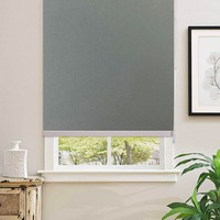100% Blackout Gray Home Roller Blinds Customized Blinds Waterproof Thermal Roller Shade Window Shade With Back In White