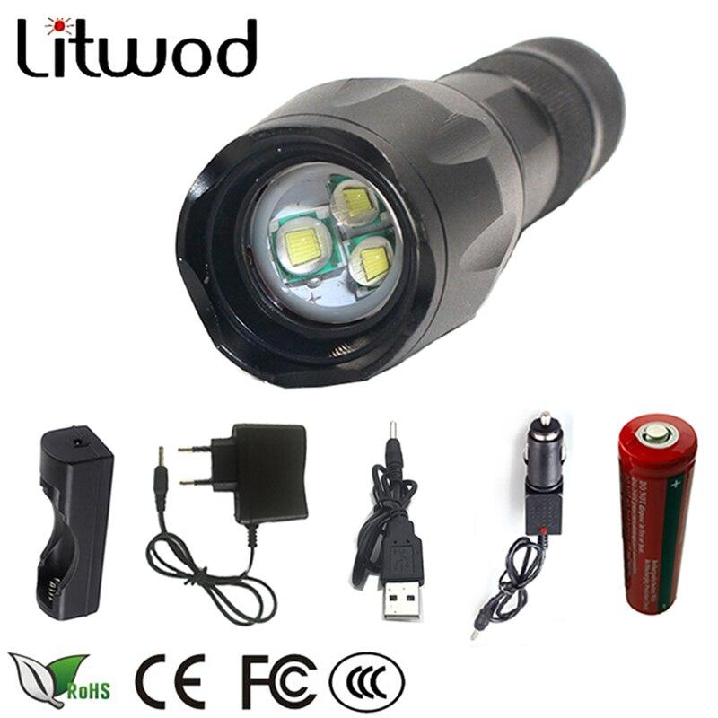 Litwod z30 XM-L T6 5000LM Impermeabile di Alluminio Zoomable LED Torcia Della Torcia Elettrica tattica luce con la batteria 18650 + Accessori