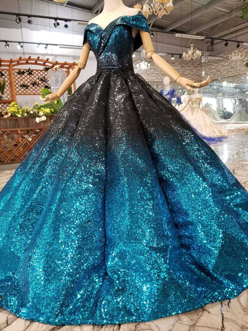 HTL123 נוצץ כדור שמלת שמלות נשף 2019 מקיר לקיר כבוי כתף מתוקה נפוחה קפל ערב שמלות עם נצנצים