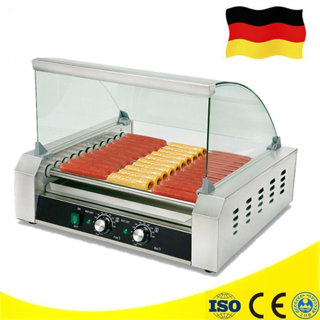 Shop Use Electric 11 Rollers Grill Snack Machine With Warmer Roller Grill Hot Dog Maker
