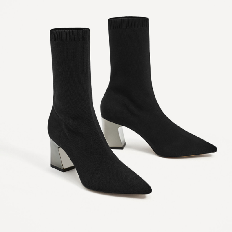 Mid Calf Stretch Fabric Sock Boots Women Pointed Toe High