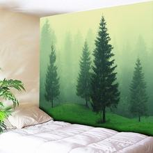 Forest Tapestry Psychedelic Wall Hanging Bohemian Carpets Light Green Foggy Art Background Cloth Tablecloth 230x150cm