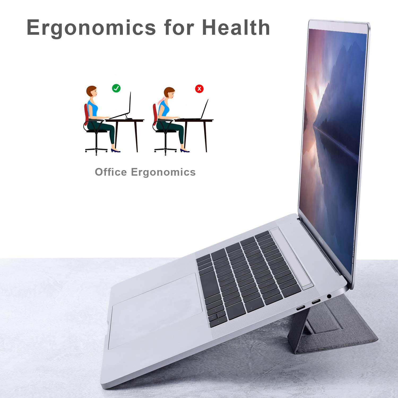 Portable Folding Adjustable Laptop Stand 11-15.6 inch Notebook Tabletop Bracket Fine Sandblasting Oxidation Treatment Silvery A