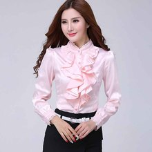 2019 Women Elegant Casual Shirts Ruffled Collar Office Lady Blouses Formal Work Shirt Female
