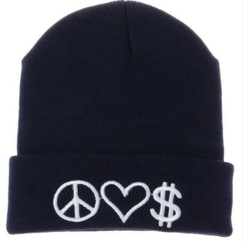 PEACE LOVE MONEY Letter Embroidery Knitting Beanies Women and Men Hat Winter Skullies Beanies