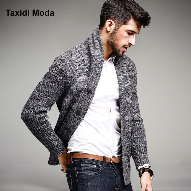 Mens Casual Blusas Grossas de inverno 100% Algodão de Malha Cardigan de Tricô Roupas de Marca Homem Sweatercoats Malhas Tops