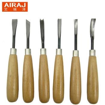 цена на AIRAJ 6Pcs/set Woodcut Scorper Carving Engraving Knife Tool Set Chrome Vanadium Steel Wooden Cutter Hand Tools Free Shipping