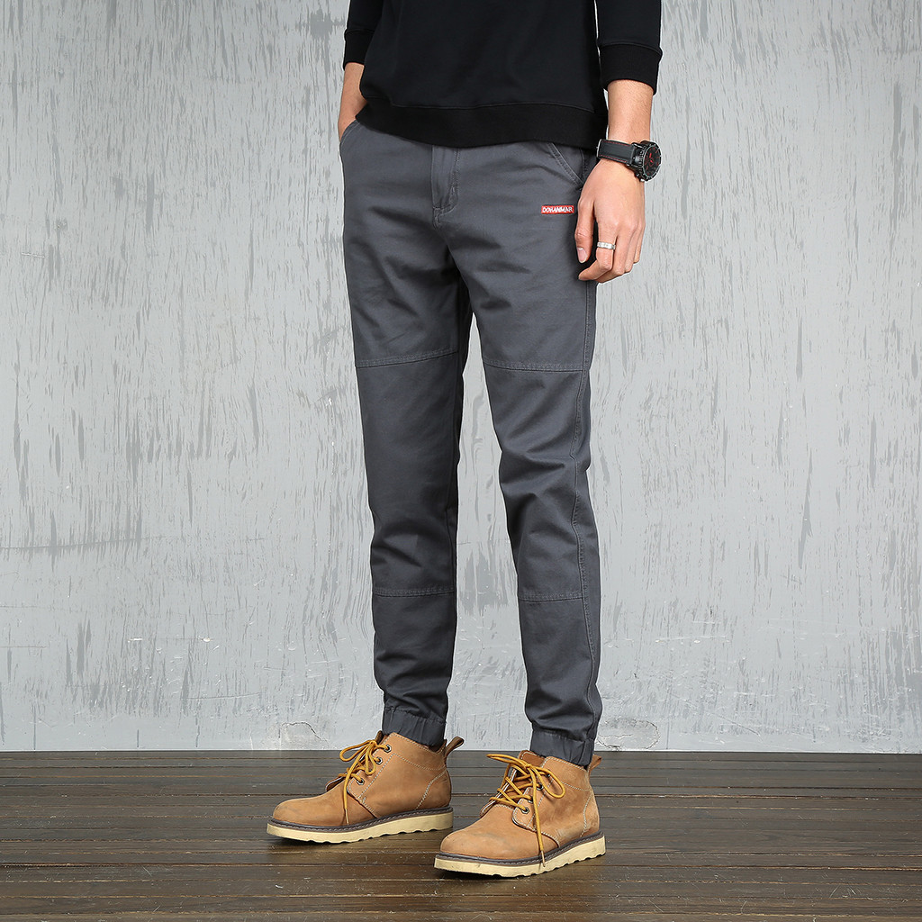 men pants casual Pants cargo pants men Summer Fashion Men's Pure Trousers and Small-footed Casual Pants Plus size Y618