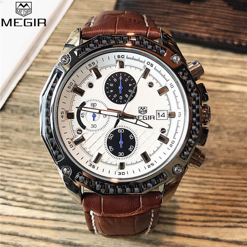 <font><b>MEGIR</b></font> Climbing Chronograph Men's Watch Fashion Casual Luminous Engraved Multifunctional Wristwatch Mens Watches Top Brand Luxury image