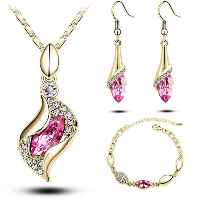 Gifts Sales MODA Elegant Luxury Design New Fashion  Gold Filled Colorful Austrian Crystal Drop Jewelry Sets Women 5