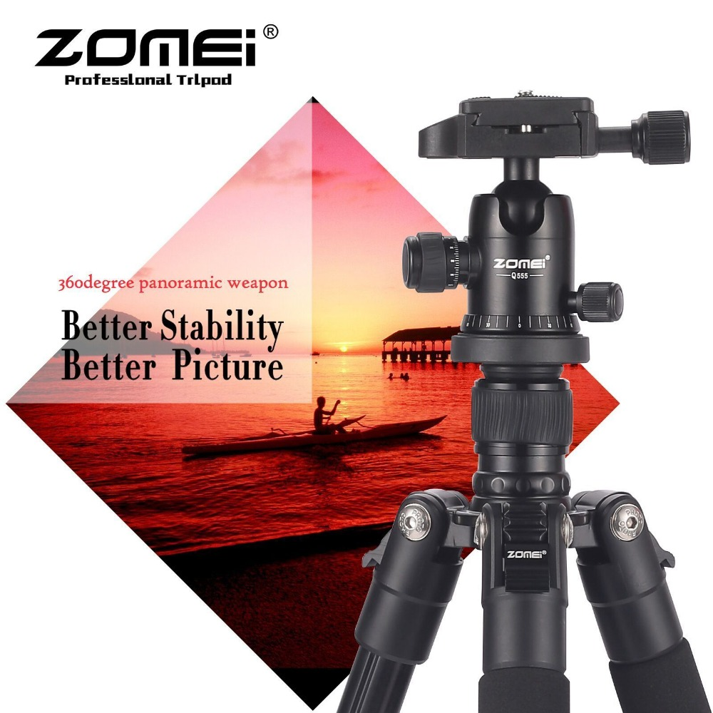 New Zomei Q555 63 Portable Professional Aluminum Alloy Light Weight Tripod Monopod with ball head For digital SLR DSLR cameras new sys700 aluminum professional tripod