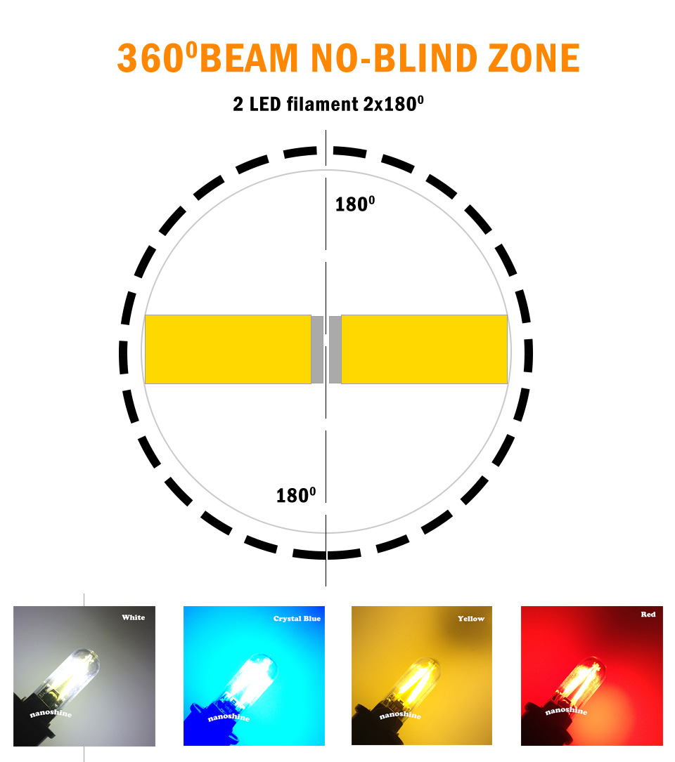 Newest W5W led T10 cob glass car light Led filament auto automobiles reading dome bulb lamp DRL car styling 12v