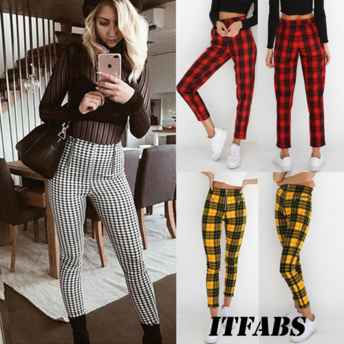 2018 New Style Plaid High Waist Pant Women Skinny Jeans -4925