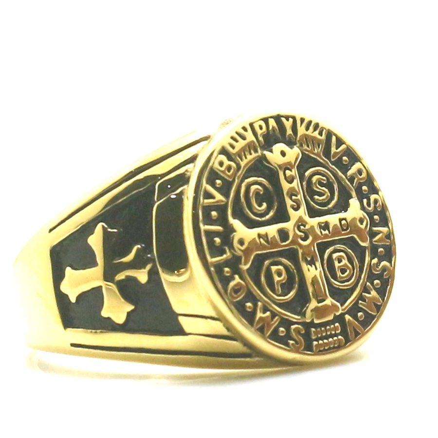 Analytical Newest Ladys Size 5 To 10 Saint Benedict Of Nursia Christianity Jesus Exorcism Golden 316l Stainless Steel Ring