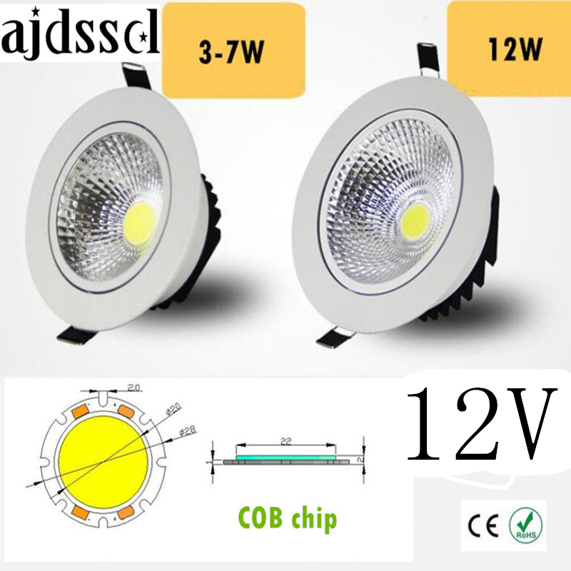 LED Downlight  Super Bright Recessed LED SPOT Dimmable COB 3W 5W 7W 12W LED Spot Light LED Decoration Ceiling Lamp AC/DC 12V