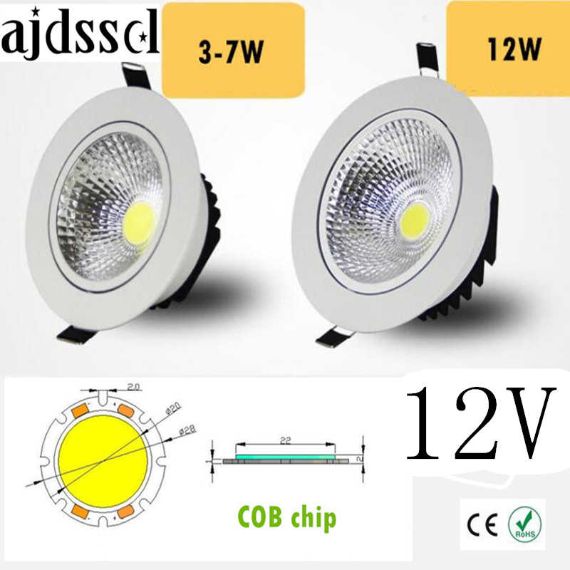 Diodo emissor de luz downlight super brilhante recessed led ponto regulável cob 3 w 5 7 w 12 w conduziu a luz do ponto conduziu a lâmpada do teto da decoração ac/dc 12 v