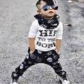 Осень 2015 новорожденного мальчика одежда детская одежда из хлопка с длинными рукавами + Брюки 2 шт. девушки bebe младенческой наряд