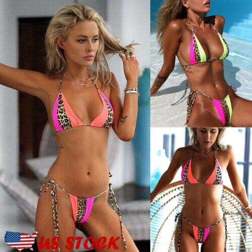 Leopard Patchwork BIkini Set 2019 Sexy Bandage Micro Bikini Thong Biquini Women Swimwear Hot Selling Brazilian Bathing Suit