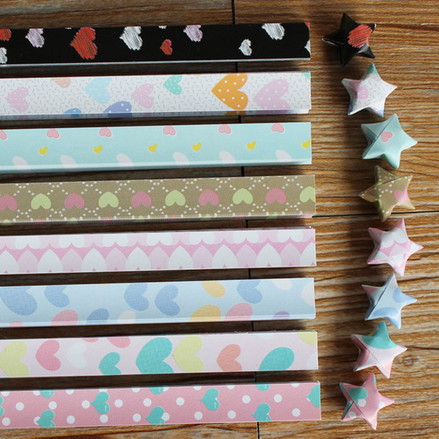 45pcs Lot Home Decor Colorful DIY Paper Crafts Scrapbooking Origami Lucky Star Heart