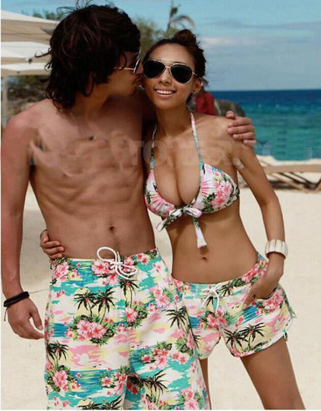 New Board Short Couple Swimwear Striped Swimsuit Swimming Shorts Women Board Shorts Lovers Men Beach Surf Couple Swimsuits  Купальник