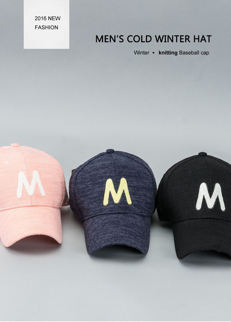 2016 Autumn Winter Baseball Cap For Men Letter M embroidery 3 Colors ... bdbc1f10b9fe
